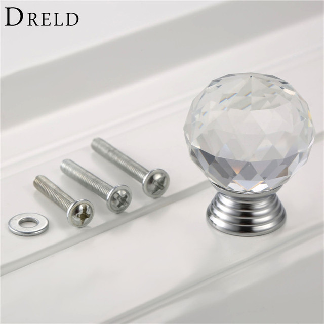 DRELD 1Pcs 30mm Clear Diamond Crystal Glass Pull Handle Cabinet Drawer Door Knob Kitchen Furniture Handle & DRELD 1Pcs 30mm Clear Diamond Crystal Glass Pull Handle Cabinet ...