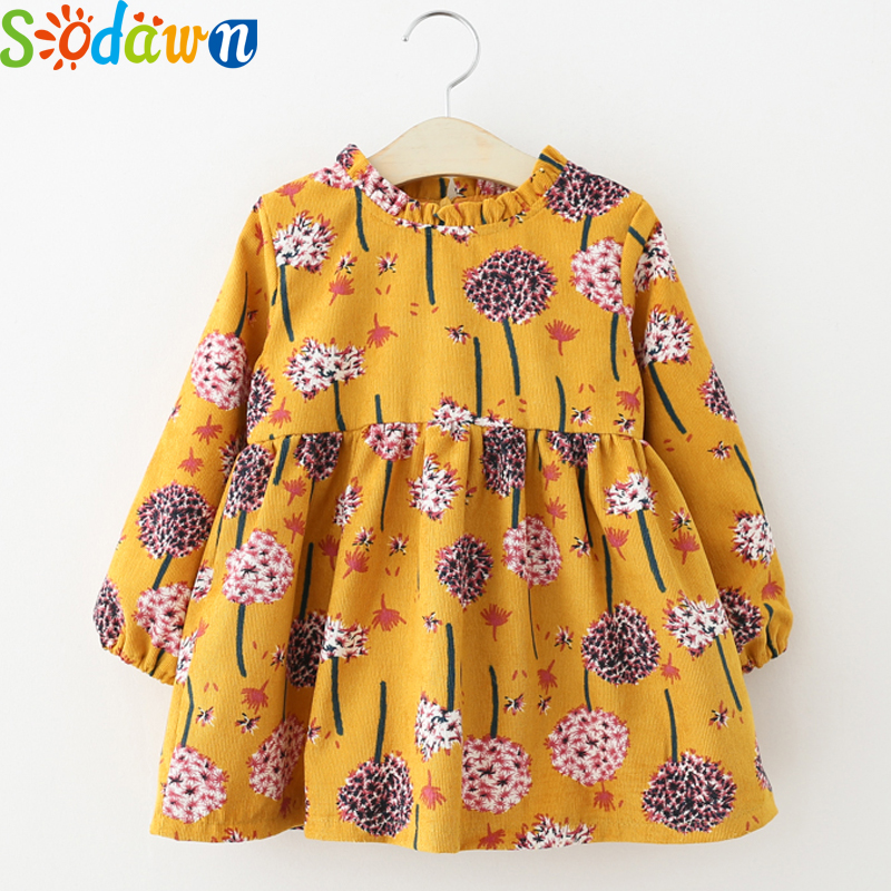 Sodawn 2017Autumn New Girls Dress Baby Girls Clothes Corduroy Lace Collar Printing Long-Sleeved Princess Dress Children Clothing dji mavic pro remote controller suppor dual controller mode for mavic pro control quadcopter rc drones original accessories