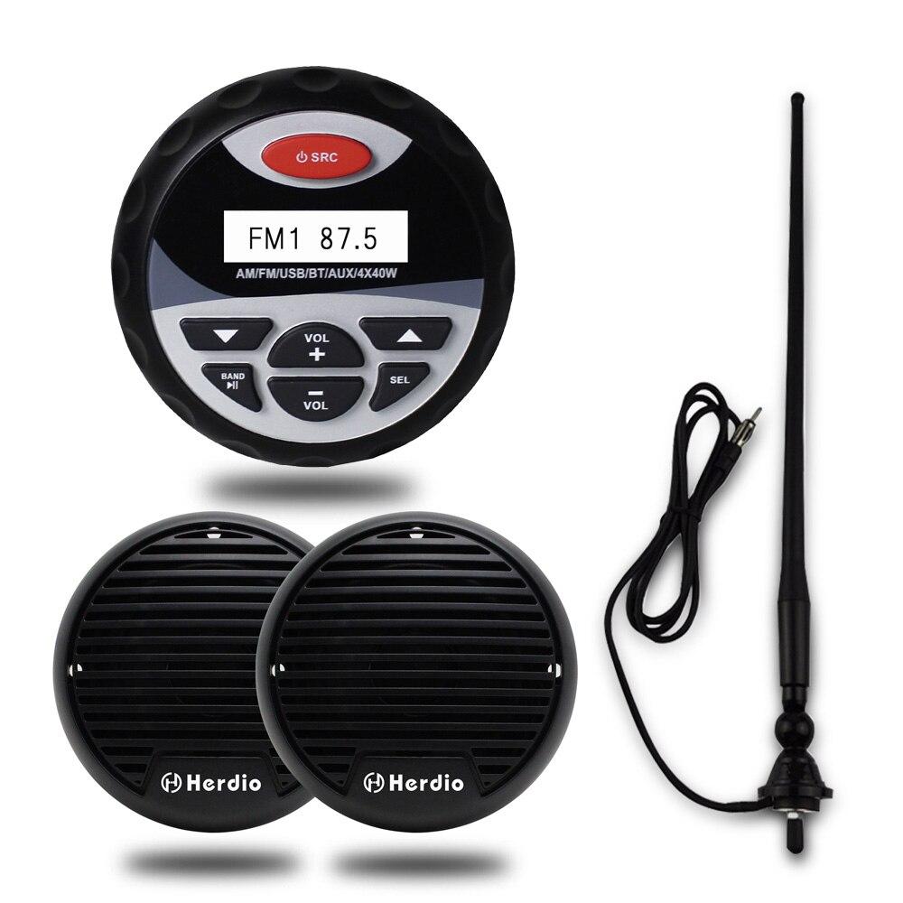 MarineMaxx Étanche Audio Haut-Parleur Système Stéréo Bateau Moto Radio Bluetooth MP3 Lecteur Antenne pour Voiturette De Golf PA UTV ATV