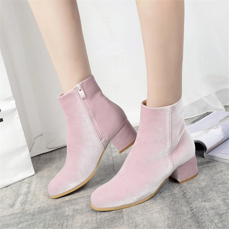 Women Boot Shoes Velvet Short Elegant Square Heel Pointed Toe Ankle Boot Shoes Spring Autumn Winter Flock Ladies Party Boots new 2017 spring summer women shoes pointed toe high quality brand fashion womens flats ladies plus size 41 sweet flock t179