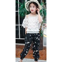 Kids Girls Clothes Set White Lace T Shirt + Floral Pants 2PCS Costumes For Girls Teenage Kids Children Clothing 6 8 10 12 13 14