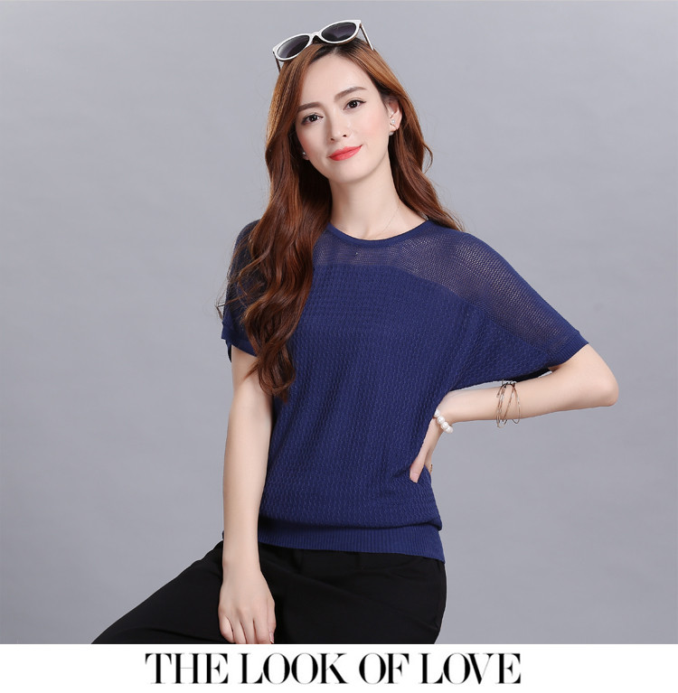 Women's Loose Bat Sleeve Hollow Thin Short-sleeved T-shirt