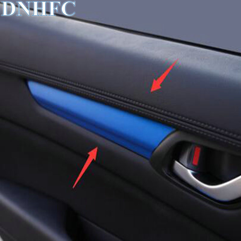 DNHFC Car Styling The interior of the car is decorated with blue stickers For MAZDA CX-5 CX5 KF 2nd Generation 2017 2018 for mazda cx 5 cx5 2017 2018 2nd gen lhd auto at gear panel stainless steel decoration car covers car stickers car styling
