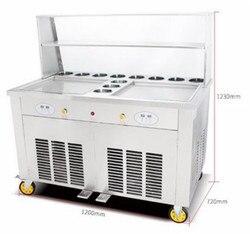 Podwójne kwadratowe patelnie smażyć maszyna do lodów tajskich na prawdziwe pyszne rolki do lodów z 2 patelniami