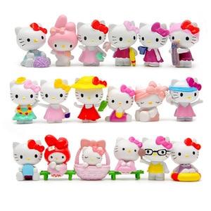 Image 1 - 18ชิ้น/เซ็ตการ์ตูนHello Kittyฤดูร้อนรูปแบบKawaii 4 ~ 4.5ซม.ของเล่นตุ๊กตาอะนิเมะพีวีซีAction Figureเด็กวันเกิดของขวัญ