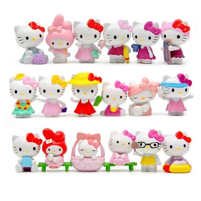 18 Stks/set Cartoon Hello Kitty Zomer Stijlen Kawaii 4 ~ 4.5Cm Speelgoed Poppen Anime Pvc Action Figure Kinderen Verjaardag geschenken