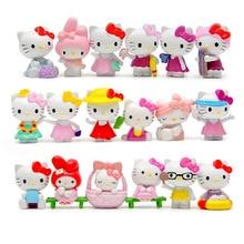 18 pçs/set dos desenhos animados olá kitty verão estilos kawaii 4 4.5cm brinquedos bonecas anime pvc figura de ação crianças presentes aniversário
