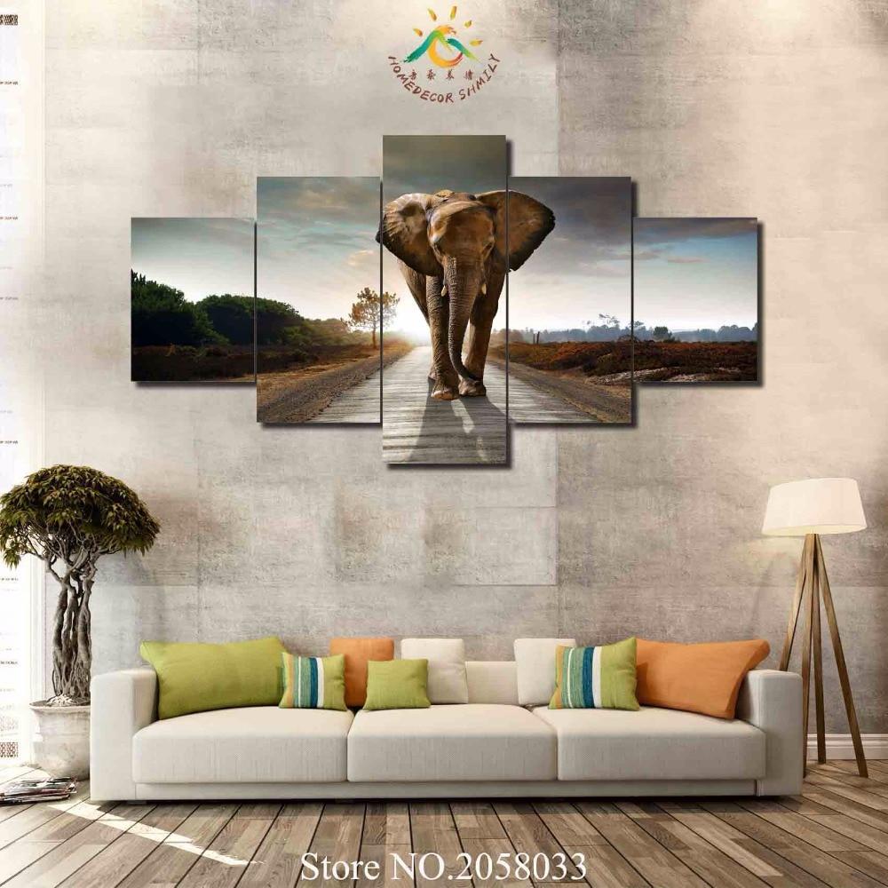 9d52728503312 3-4-5 أجزاء المشي الفيل لوحات تجريدية على قماش جدار الفن صور لغرفة المعيشة  ديكور المنزل جدار الفن قماش يطبع