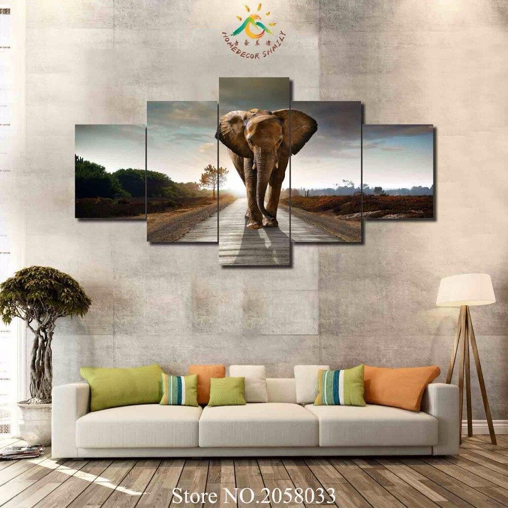 ᗖ3-4-5 unidades caminar elefante pinturas abstractas sobre lienzo ...