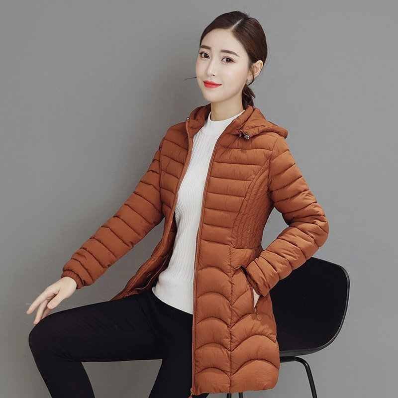 New   Parkas   Women Long Light Thin Coat 2018 Winter Slim Feather Jackets Casual Hooded Plus Size 6XL 5XL Middle-aged Clothing A892