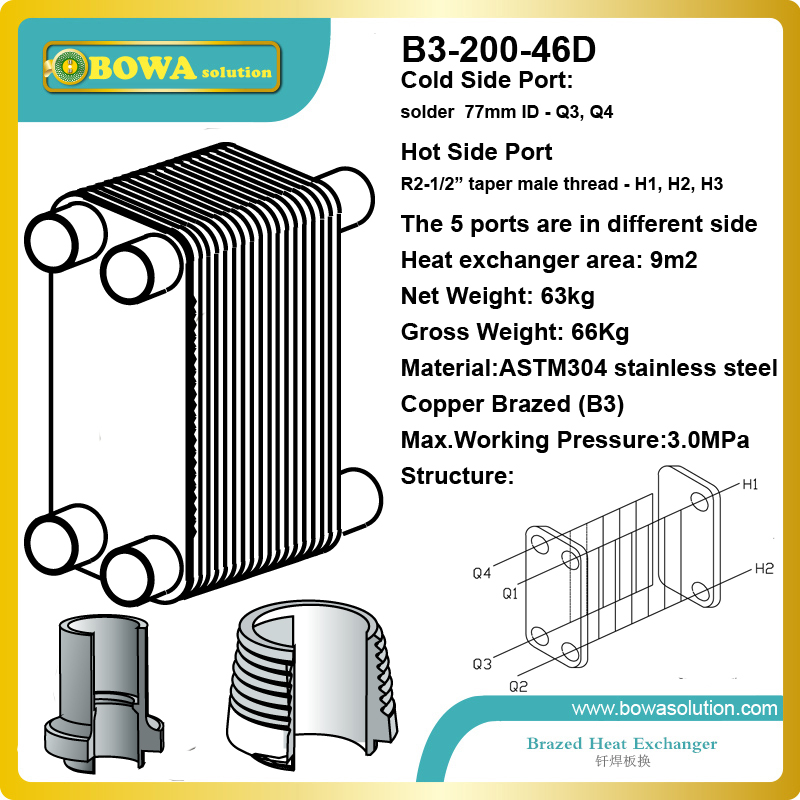35RT (R22 to water) B3-200-46D  flat stainless steel heat exchanger for water temperature machine and equipments replace kaori