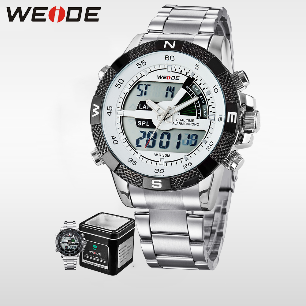 WEIDE Men Business Quartz Wrist Watch Dual Time Zone Top Brand Big Dial Stainless Steel Sports alarm Clock Gift LCD relogio 1104 weide genuine top brand military watch luxury men watch multiple time zone waterproof sports clock relogio masculino gift uv1503
