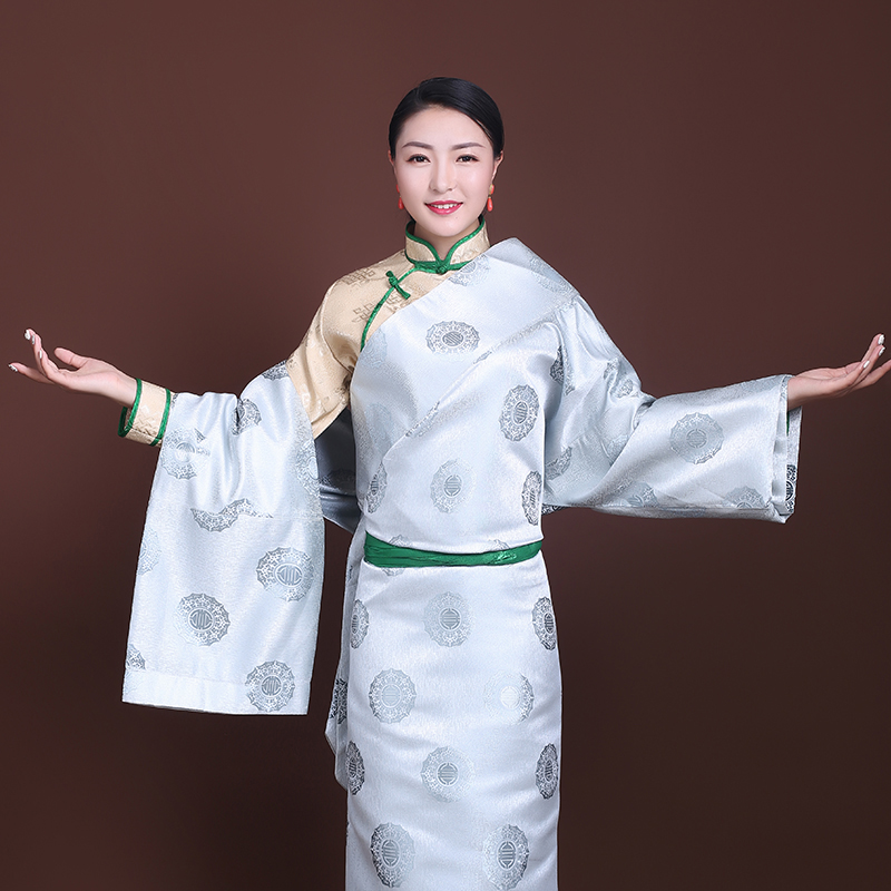 Tourism Outfit In Bhutan Nepal Tibetan Race Stage Costume Lady Lhasa Cotton Silk Gown Robe Stage Costumes Tibet Women's Wear