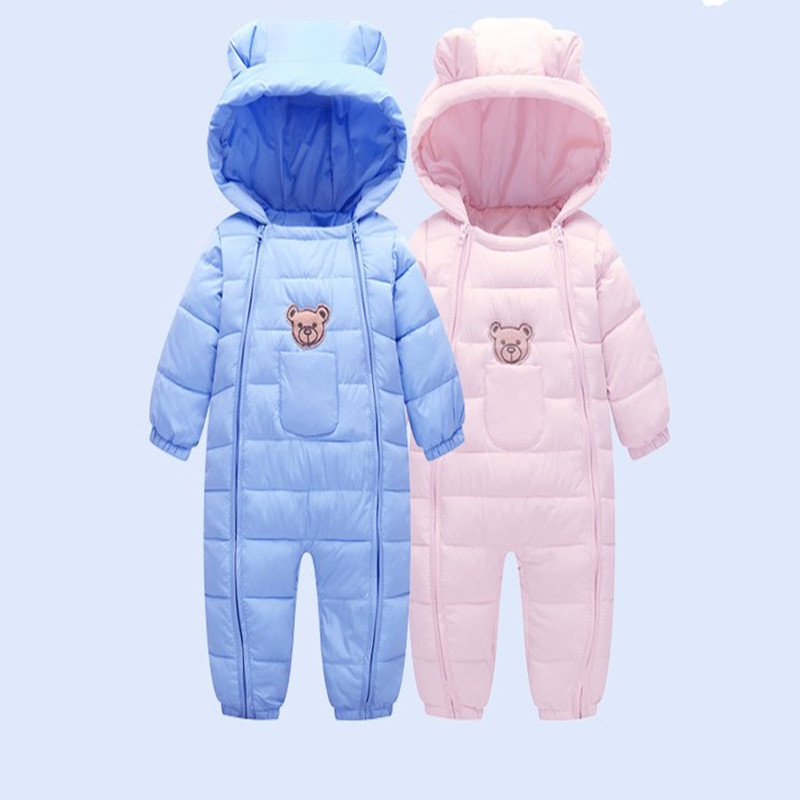 H  baby romper hooded infant baby winter long sleeve rompers high quality newbrown warm jumpsuit toddler boys girls overall