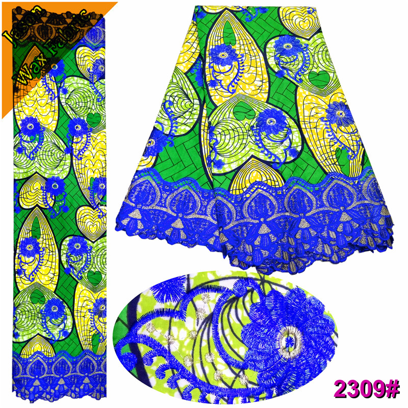 Latest African Guipure Wax Fabric With Lace blue&green polyester Nigerian Ankara Prints Wax Lace Embroidered Lace Fabric/ LBL