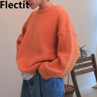 Flectit Fall Winter Casual Long Sleeve Knitted Jumper Pullovers Sweater For Women Loose Cozy Orange Jumpers Top