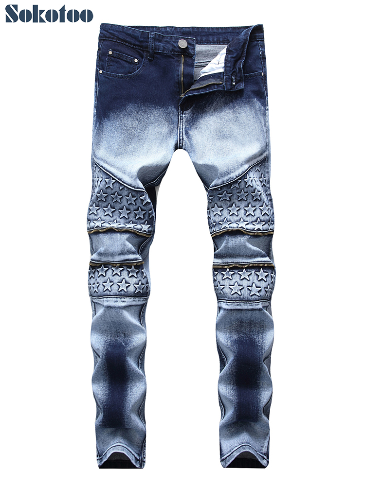 Sokotoo Men's Stars Embossed Tie And Dye Slim Fit Staight Jeans Plus Size Stretch Denim Pants