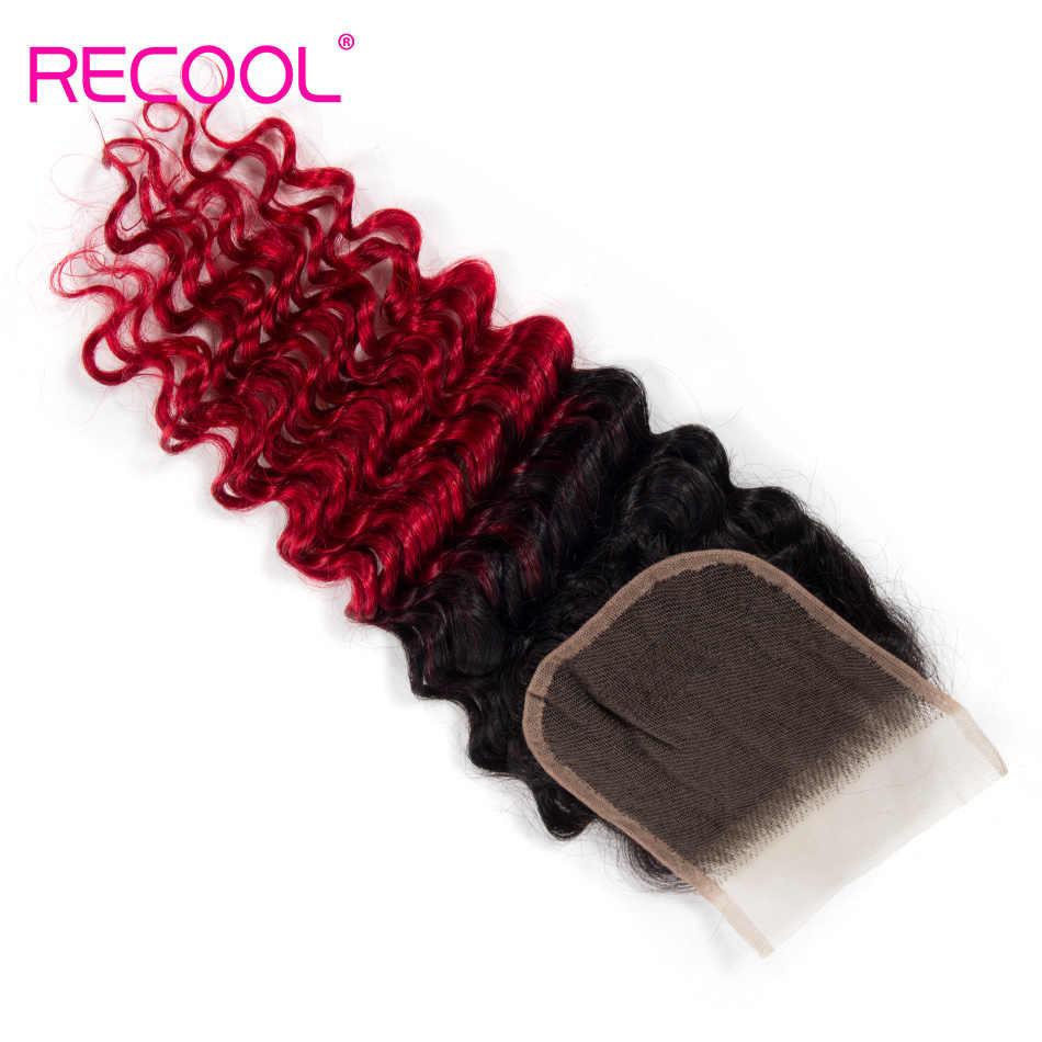Rebobina pelo brasileño pelo profundo Cierre de encaje suizo gratis/parte media 1B rojo 4x4 pulgadas Top cierre de cabello humano Remy