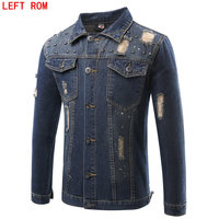Solid Casual Slim Mens Denim Jacket Plus Size M 4XL 5XL Bomber Jacket Men High Quality