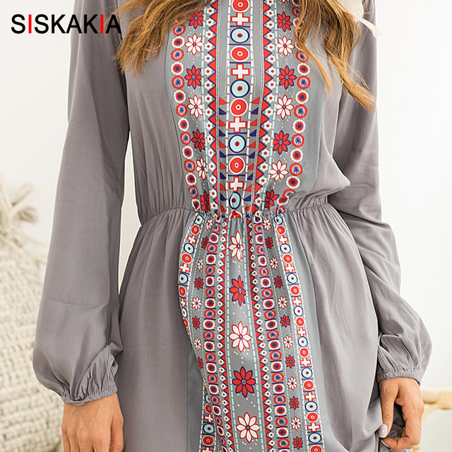 Siskakia Women long dress geometry pattern print maxi dresses Beach holiday Vocation dress Gray long sleeve