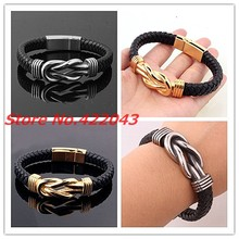 8.85″ Promotion men womens bracelet bangle black leather jewelry silver gold stainless steel chain fashion accessories wholesale