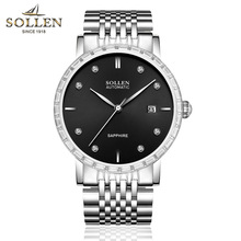 97dc09c0c3f Luxury Brand SOLLEN Male Steel Strap Automatic Mechanical Watches Men s  Sports waterproof Military WristWatch relogio masculino