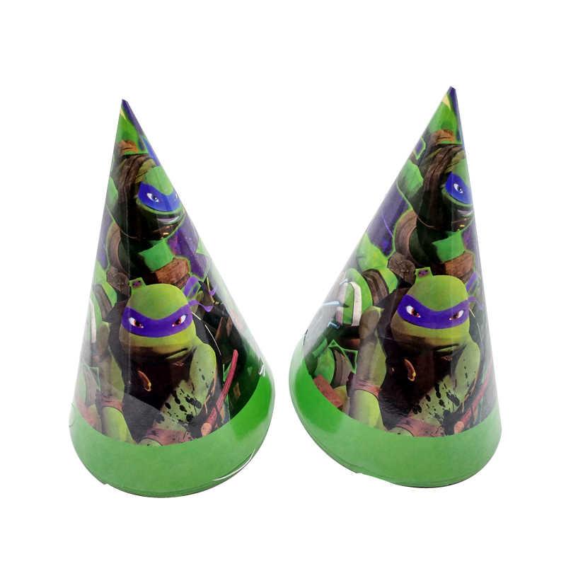 6 pçs/lote Crianças Meninos Favores Decoração Festa Feliz Aniversário Cartão Ninja Turtles Tema Eventos Fontes Do Chuveiro Do Bebê Chapéus Bonés