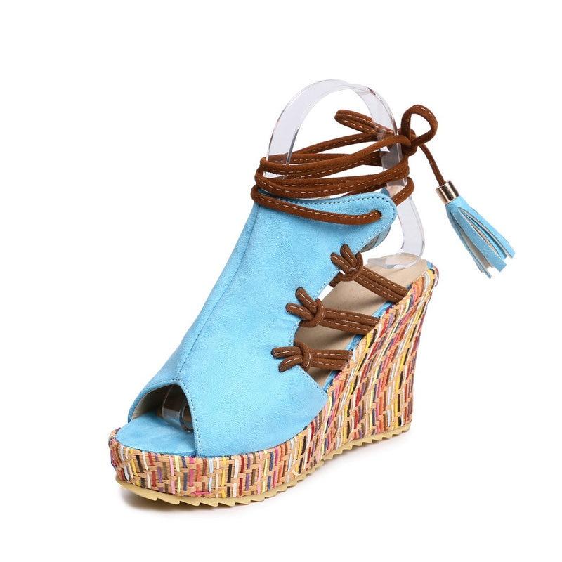 5c5784ede7db5 Ashwin plataforma de la cuña del verano sandalias zapatillas Super tacones  altos chanclas bowknot borla hawaiana