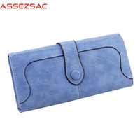 Assez Sac Fashion Women Wallet PU Leather Wallet Solid Hasp Long Purse Concise Casual Popular Wallet