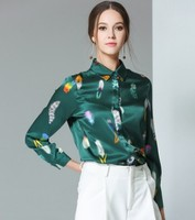 The new weight of the new silk blouses is a long sleeve of mulberry silk feathered printed shirting