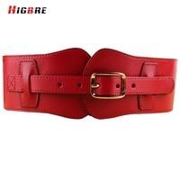 New Genuine Leather Cummerbund Women Wide Belts Waist Designers Brand Luxury Cowboy Buckle Elastic Waistband Wide