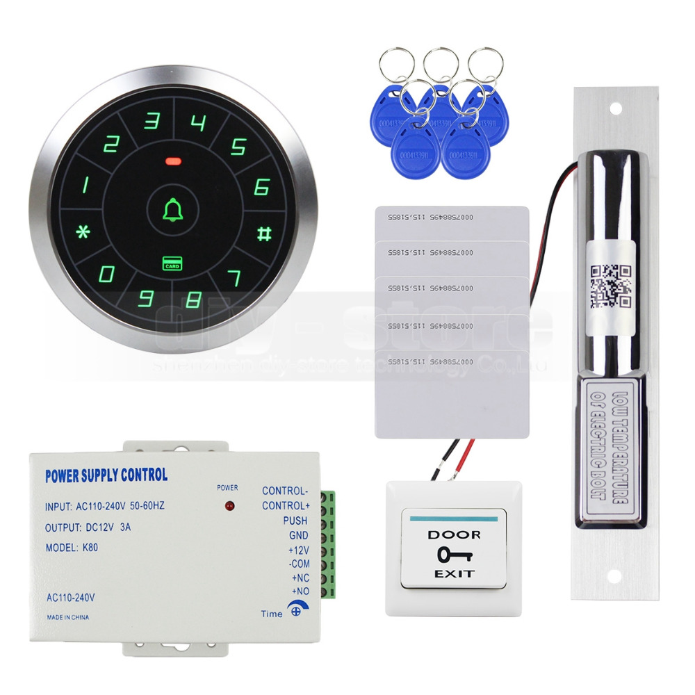DIYSECUR Access Control System 8000 Users 125KHz RFID Reader Password Keypad + Electric Drop Bolt Lock Door Lock Security Kit rfid ip65 waterproof access control touch metal keypad standalone 125khz card reader for door access control system 8000 users