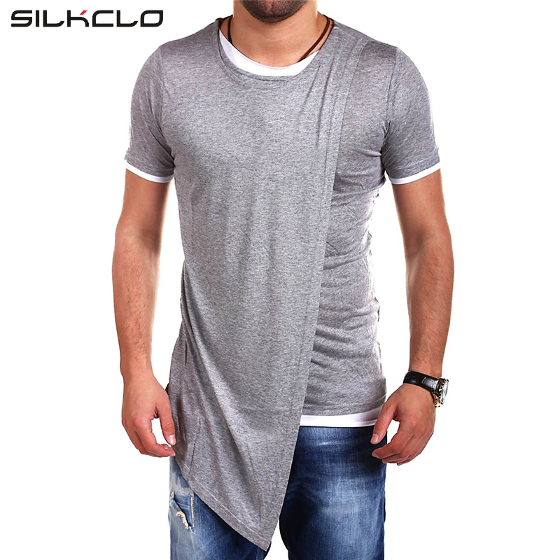Asian Size Brand Clothing Fashion long style irregular Designed Short Sleeves T shirt For Men Casual