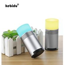 kebidu New Mini Bluetooth 4.1 Speaker FM Radio MP3 LED Night Light Speakers With Mic 3D Stereo Music Surround Support TF card