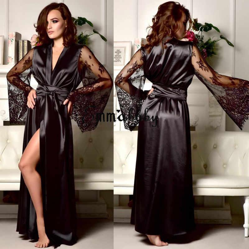68157bda3f ... New Lingerie Sleepwear Satin Lace Sexy Women Sissy Long Sleeve Loose  Bathrobe Kimono Babydoll Nightwear Robe. RELATED PRODUCTS. Lace Sleep Dress  ...