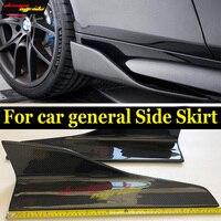 1 Pair Carbon Fiber Side Skirt Bumper Car Body kits For Lamborghini AVENTADOR 2 doors Coupe Side Skirts Splitters Flaps E Style