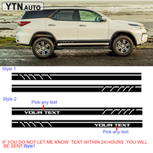 car sticker 2PC racing stripe styling side door graphic vinyl cool modified accessories decal custom for toyota FORTUNER