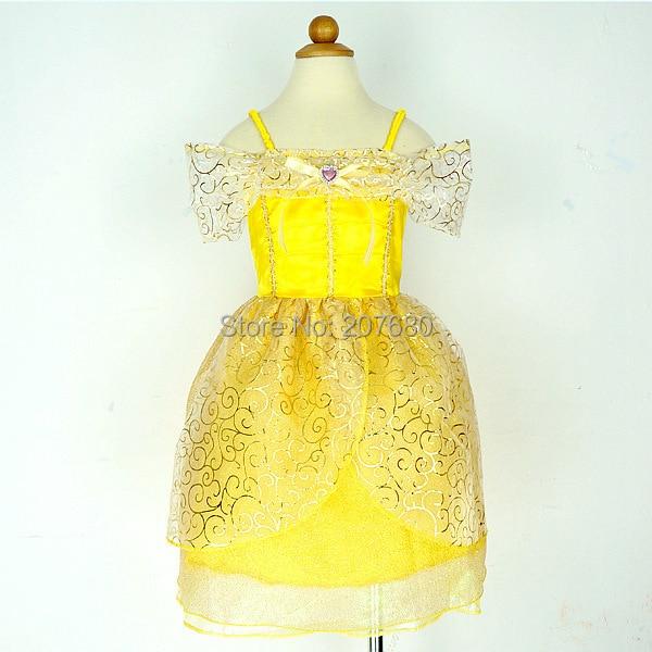 e1d40d86f4d5b ᗔالذهب لطيف بيل الأميرة اللباس حزب تأثيري زي ملابس تنكرية للأطفال ...