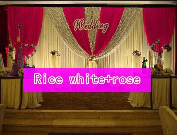CALDO!! 3*6 m festa di nozze di seta del ghiaccio drapery Riso bianco paillettes di Colore con lo swag fase prop moda Copre la tenda Sullo Sfondo - 3