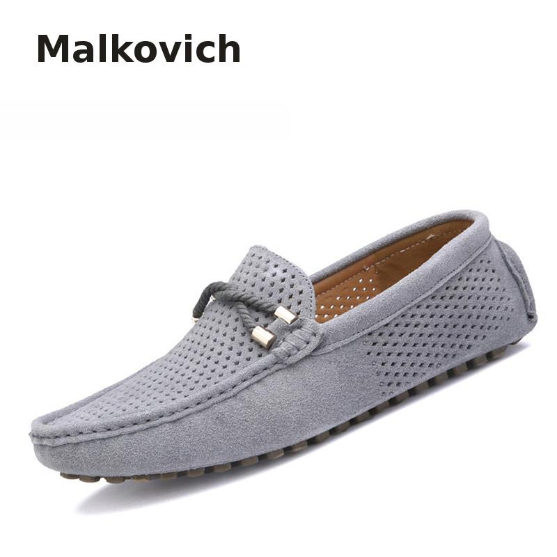 Malkovich Summer Genuine Leather Men Shoes Casual Driving Shoes Leather Mocassin Soft Breathable Men Flats Brand Shoes Suede Men luxury brand summer men shoes genuine leather big size men driving shoes good quality soft men loafers comfortable breathable