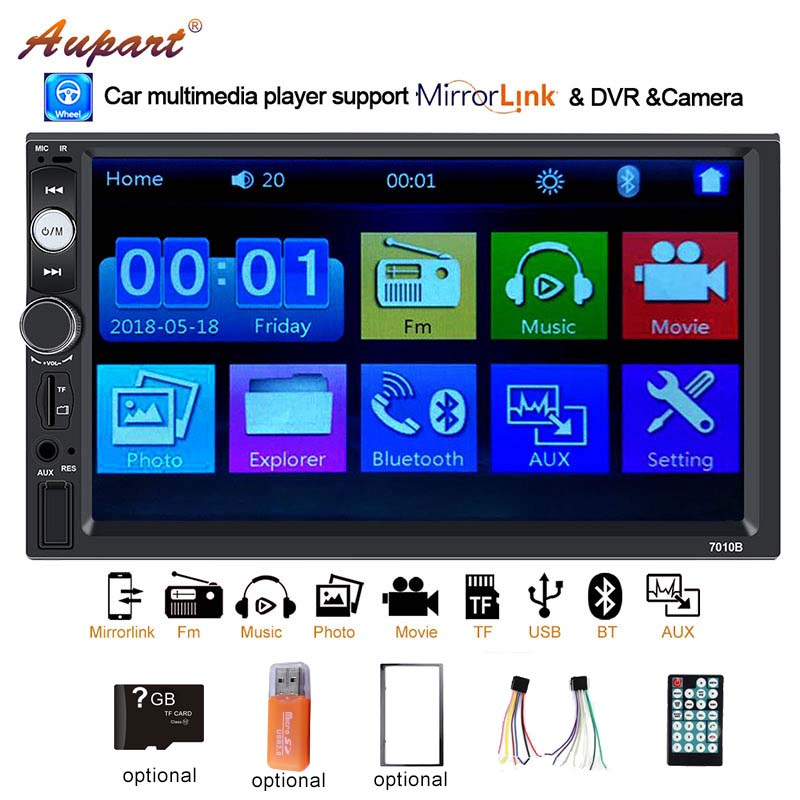 2 din Car radio double din autoradio universal multimedia player auto audio mp4 mp5 mirror link with rear camera touch screen-in Car Multimedia Player from Automobiles & Motorcycles