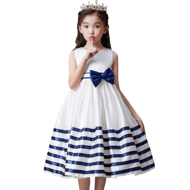 Pageant striped bow   flower     girl     dress   baby evening wedding birthday   girls     dress   first communion princess costume ladies   dress