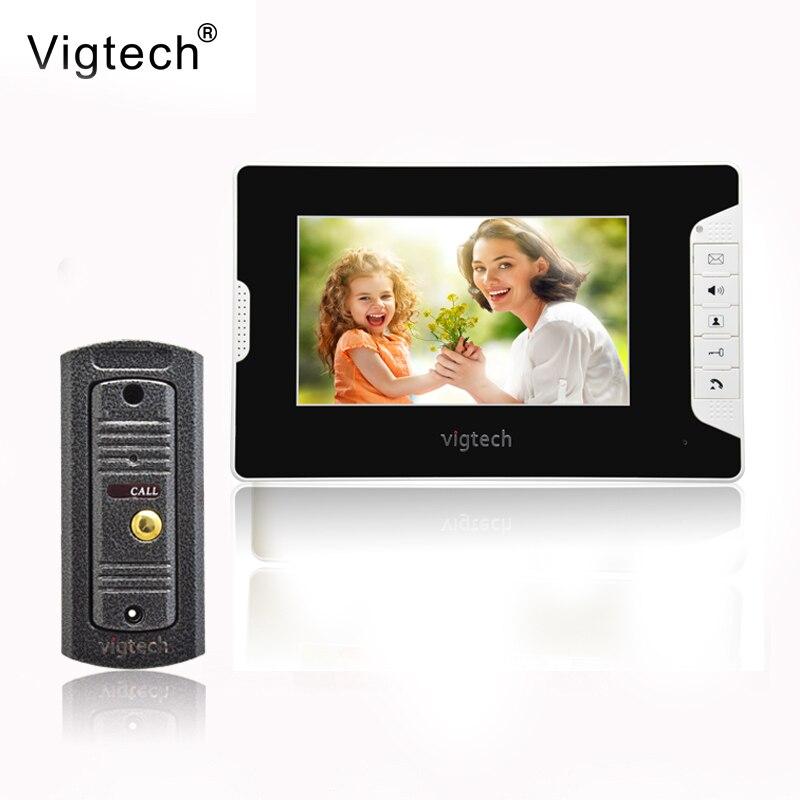 Vigtech7 ''interphone vidéo interphone vidéo haut-parleur interphone système blanc moniteur extérieur avec caméra étanche et IR