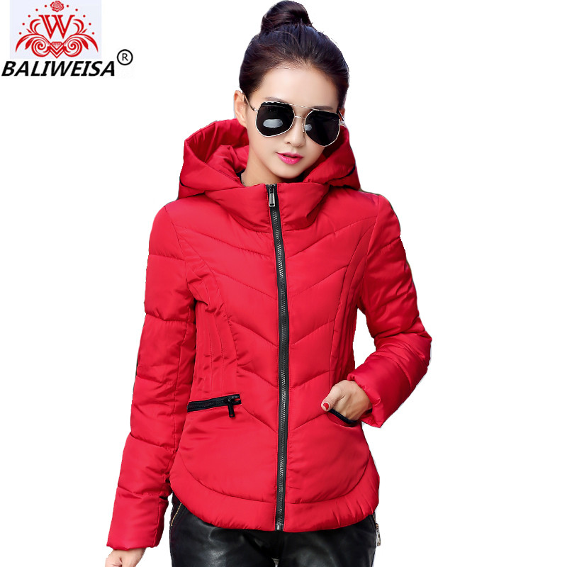 New 2019 Fashion Short Winter Jacket Women Slim Female Coat Thicken   Parka   Cotton Hooded Fur Collar candy-colored Ladies Jacket