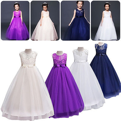 Fashion Kids Toddler Girls Lace Tulle Bridesmaid Wedding Party Pageant Formal Dress Sleeveless Long Dresses ...