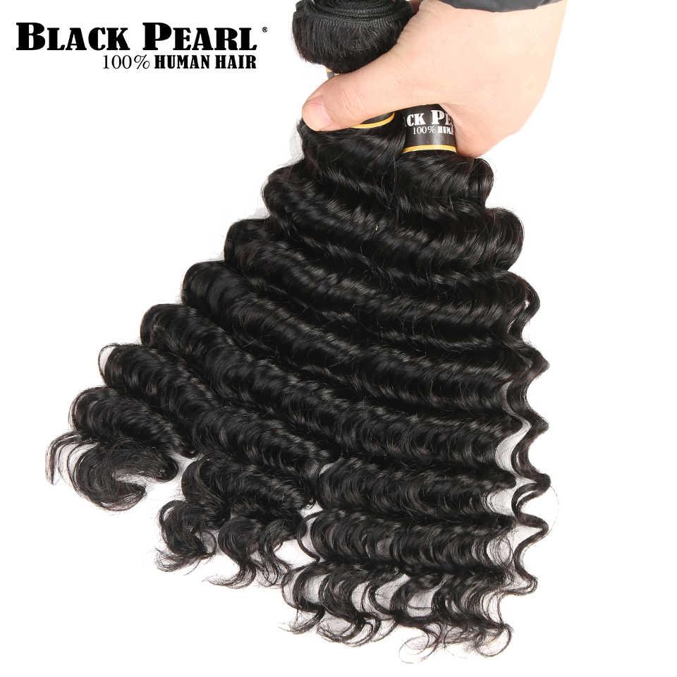 Pelo humano de onda profunda brasileño no Remy precoloreado BlackPearl 3 paquetes con cierre de cabello tejido con 4 cierre de encaje x 4
