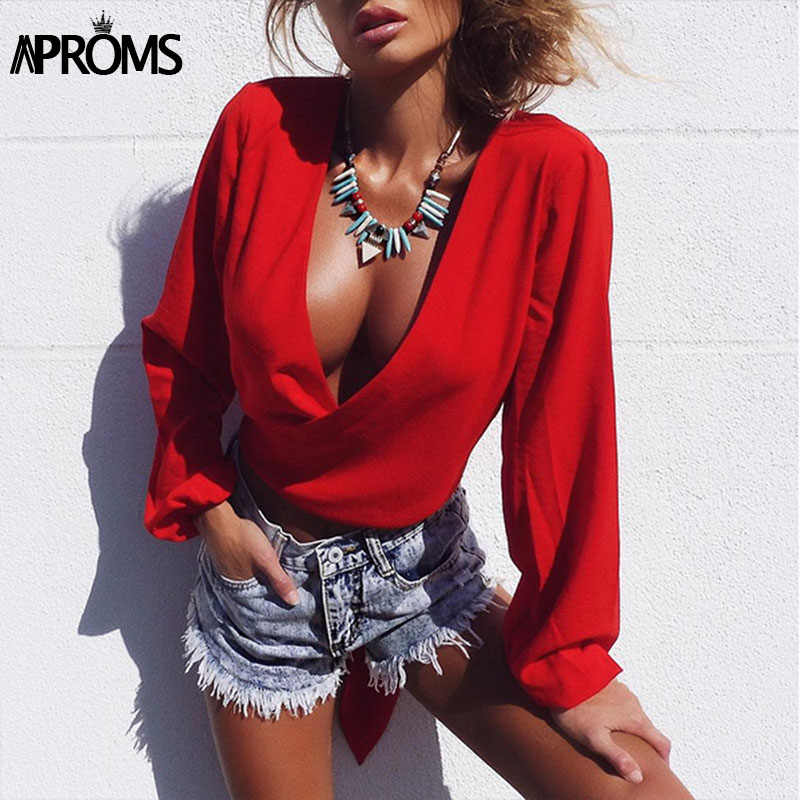 Aproms Deep V Neck Chiffon Blouse Women Sexy Backless Bow Tie Loose Tops  Female Shirt Elegant 778f1598a18