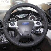 Блестящий пшеничный сшитый вручную черный кожаный чехол рулевого колеса автомобиля для Ford Focus 3 KUGA Escape 2012 2013