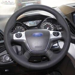 ساطع القمح مخيط يدويا أسود جلد عجلة توجيه سيارة غطاء للفورد التركيز 3 كوغا الهروب 2012 2013