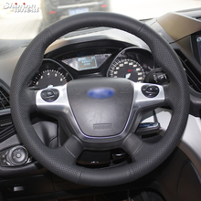 Hand-stitched Black Leather Car Steering Wheel Cover for Ford Focus 3 KUGA Escape 2012 2013 steering wheel cover for ford mondeo mk4 2007 2012 s max 2008 ford focus 3 2015 2018 kuga 2016 2018 custom made steering braid